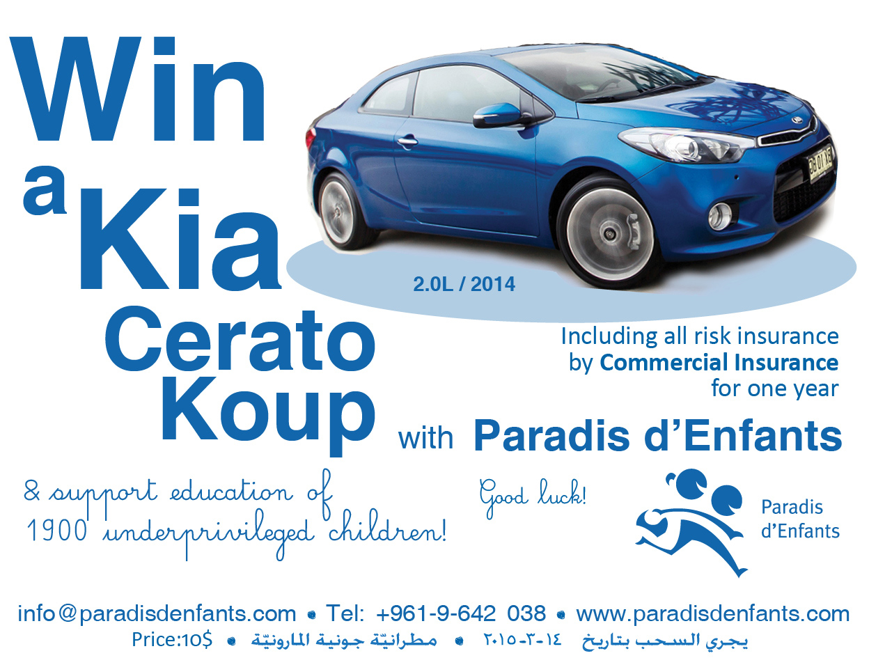 Win a New Kia Cerato with Paradis d'Enfants Car Raffle